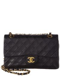 74a26103f Chanel Black Quilted Lambskin Leather Small Double Flap Bag in Black ...