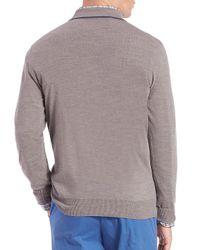 Saks Fifth Avenue - Gray Long-sleeve Merino Wool Polo for Men - Lyst