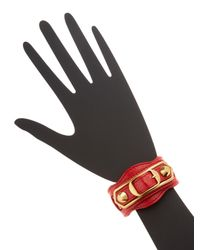 Balenciaga - Red Classic Metallic Edge Leather Bracelet - Lyst