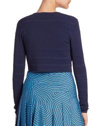 Akris Punto - Blue Textured Knit Bolero - Lyst