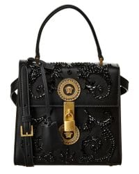 Versace - Black Embroidered Barocco Leather Satchel - Lyst