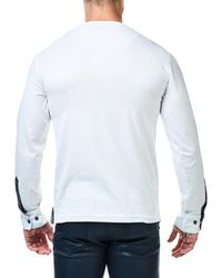 Maceoo - White V-neck Jacquard Square Sweater for Men - Lyst