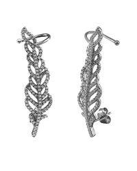 Gabi Rielle - Metallic Oxidized Silver Cz Ear Climbers - Lyst