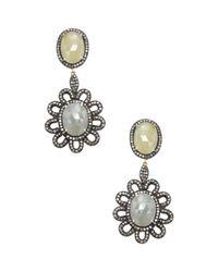 Bavna - Metallic Sterling Silver, Sapphire & 1.56 Total Ct. Champagne Diamond Flower Drop Earrings - Lyst
