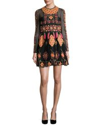 4ea0605b03d4 Lyst - Valentino Flared Embroidered Tulle Mini Dress in Black