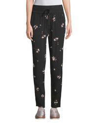 A.L.C. Black Silk Floral Pants