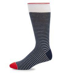 Saks Fifth Avenue - Blue Striped Crew Socks for Men - Lyst