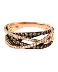 Effy - Metallic 14k Rose Gold Brown And White Diamond Crossover Ring - Lyst