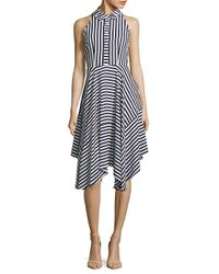Donna Ricco - Blue Stripe Buttoned Sleeveless Dress - Lyst