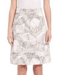 BOSS - White Victyna Printed A-line Skirt - Lyst