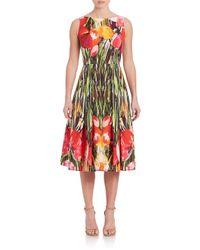 Carmen Marc Valvo - Red Floral-print Party Dress - Lyst