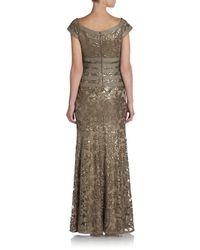 Tadashi Shoji - Metallic Sequin Lace Gown - Lyst