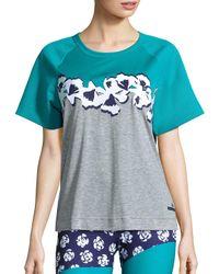 Adidas - Blue Yoga Climacool Flower Tee - Lyst