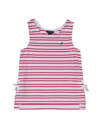 Nautica - Pink Scalloped Lace-up Tank - Lyst