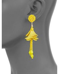 Gemma Simone | White Beaded Petal Drop Earrings | Lyst