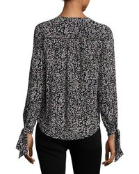 Rebecca Taylor - Black Silk Pop Flower Keyhole Top - Lyst