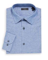 Theory - Blue Textured Linen-cotton Dress Shirt for Men - Lyst