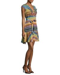 SALONI LONDON - Green Katie Silk Printed Dress - Lyst