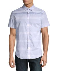 Calvin Klein Jeans - White Striped Short-sleeve Cotton Button-down Shirt for Men - Lyst