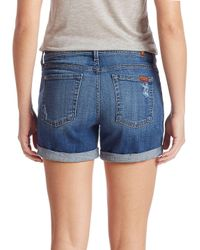 7 For All Mankind - Blue Rolled-cuff Five-pocket Shorts - Lyst