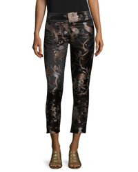 Alice + Olivia - Black Stacey Embroidered Fitted Trouser - Lyst