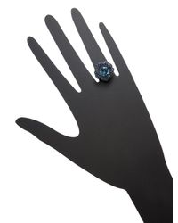Effy - 14k White Gold Blue Topaz & Sapphire Flower Ring - Lyst
