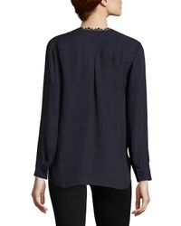 L'Agence - Multicolor Rosario Lace Trimmed Silk Top - Lyst