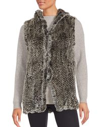Saks Fifth Avenue - Multicolor Rabbit Fur Hooded Vest - Lyst