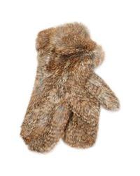 Surell - Brown Long Hair Knit Mittens - Lyst