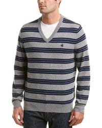 Brooks Brothers - Gray Lacoste V-neck Merino Sweater for Men - Lyst
