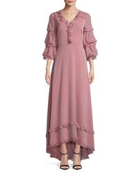 Mikael Aghal - Pink Blouson Sleeve Gown - Lyst