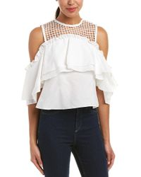 Nicholas White Double Ruffle Silk-blend Top