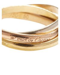 Cartier | Metallic Vintage 18k Tri-tone Gold Thin Trinity Ring | Lyst