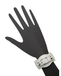 Balenciaga Gray Classic Buckle Leather Bracelet