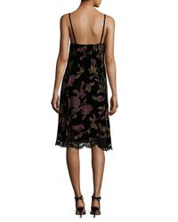 Max Studio - Black Floral Knee-length Dress - Lyst