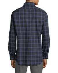 Luciano Barbera Blue Plaid Buttoned Sportshirt for men