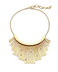 Diane von Furstenberg - Metallic Embellished Fan Statement Necklace - Lyst