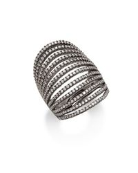Noir Jewelry - Black Multilayered Crystal Set Ring - Lyst