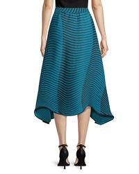 Issey Miyake - Blue Printed Midi Skirt - Lyst