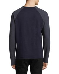 Saks Fifth Avenue - Blue Two-tone Crewneck Sweater for Men - Lyst