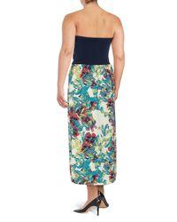 Rachel Roy Blue Plus Floral-print Strapless Dress