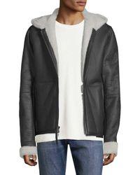 Vince - Black Leather Shearling Jacket for Men - Lyst