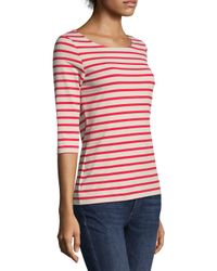 Saint James - Red Coast Guard Three Stripe Tee - Lyst