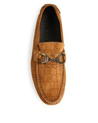 Jimmy Choo - Brown Croc-embossed Leather Driver Shoes for Men - Lyst
