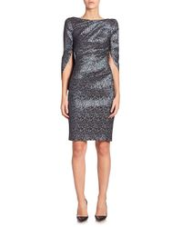 Talbot Runhof - Blue Konica Jacquard Sheath Dress - Lyst
