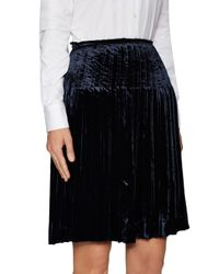 Prada - Black Pleated Elastic Flared Skirt - Lyst