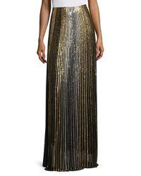 Balmain - Metallic Striped Long Skirt - Lyst