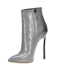 Casadei - Gray Reptile Print Patent-leather Ankle Boots - Lyst