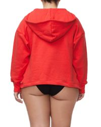 GOOD AMERICAN - Red The Lace Up Hoodie - Lyst