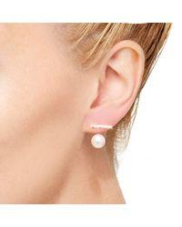 Hirotaka   Multicolor Single Toggle Gold Diamond Bar Earring With Pearl Backing   Lyst
